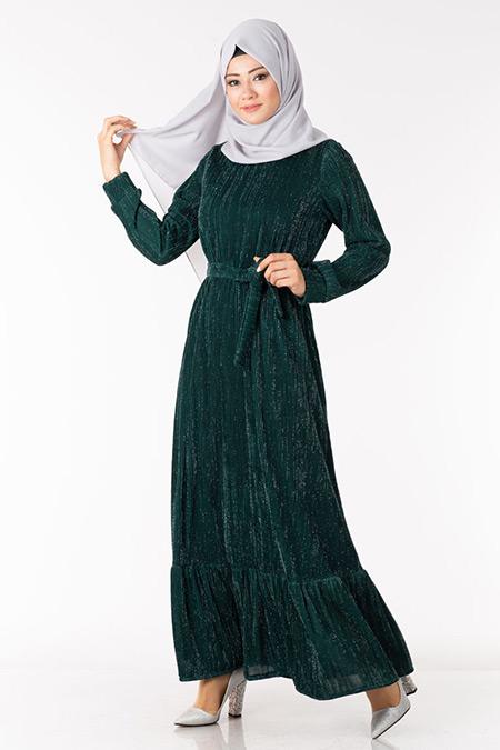Zümrüt Simli Astarlı Elbise