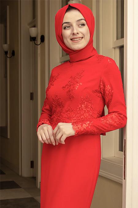 Zehrace Kırmızı Balık Abiye Elbise