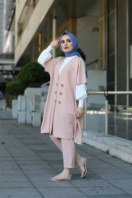 ModaBahar 6 Düğme Ceket Pantolon Bluz Tesettür Kombin