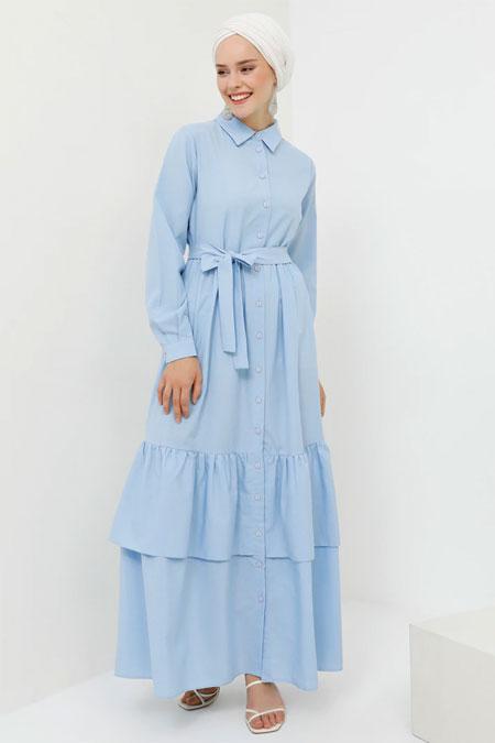Benin Mavi Boydan Düğmeli Pamuklu Elbise