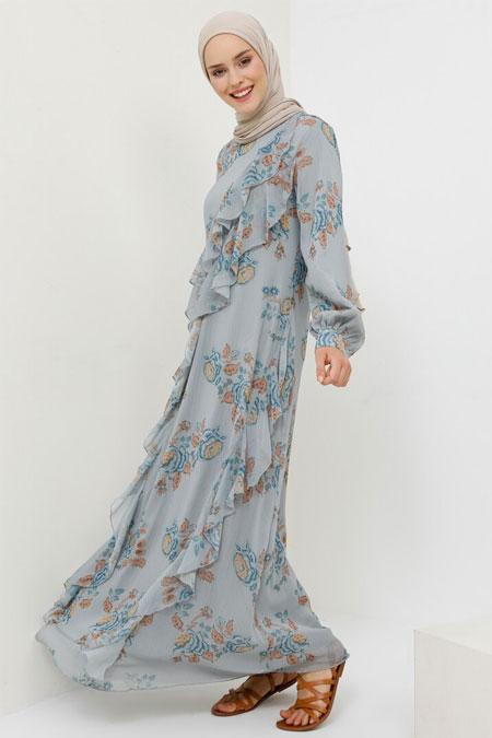 Benin Mavi Volan Detaylı Şifon Elbise