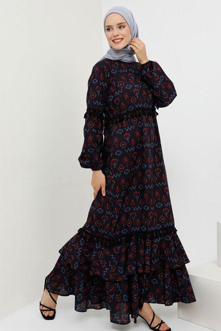 Benin Siyah Lacivert Doğal Kumaşlı Püskül Detaylı Elbise