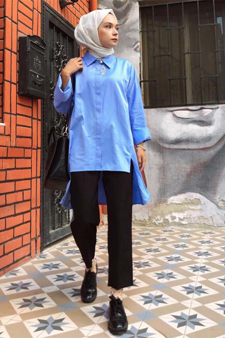 Eda Atalay Bebe Mavisi Önü Çapraz Dikişli Gömlek
