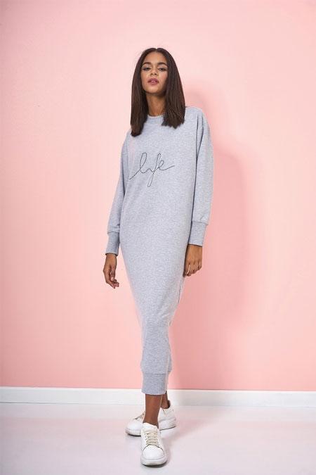 Eda Atalay Gri Yazı Detaylı Basic Elbise