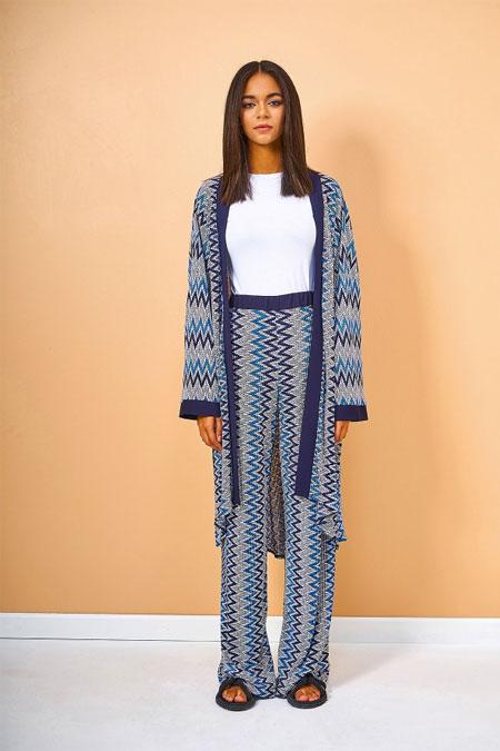 Eda Atalay Laci Çizgili Kimono & Pantolon İkili Takım