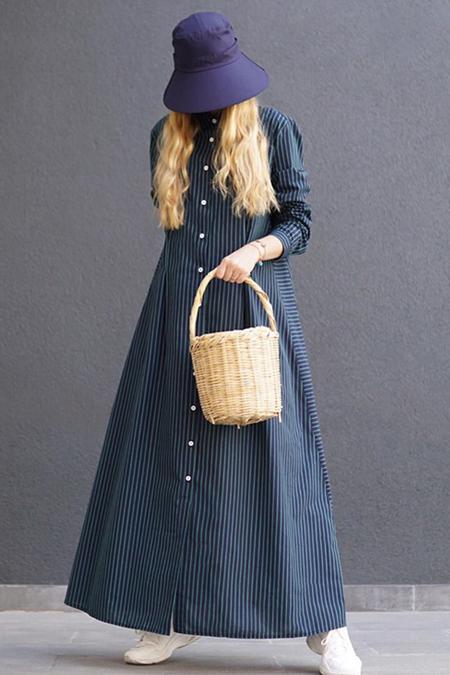 Eda Atalay Lacivert Çizgili Gömlek Elbise
