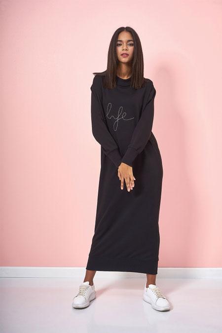 Eda Atalay Siyah Yazı Detaylı Basic Elbise