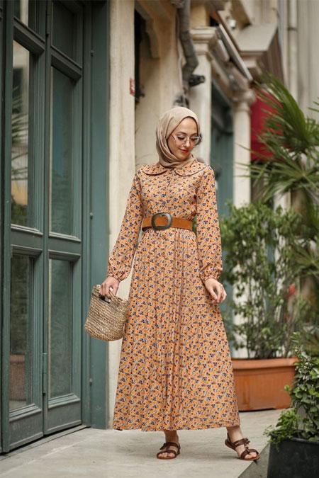 Esra Keküllüoğlu Hardal Çıtır Desen Elbise
