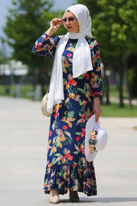 Esra Üstün Lacivert Tesettür Elbise