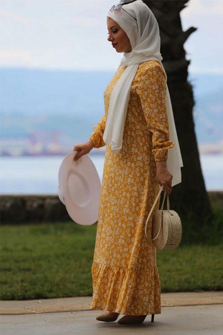 Esra Üstün Sarı Tesettür Elbise