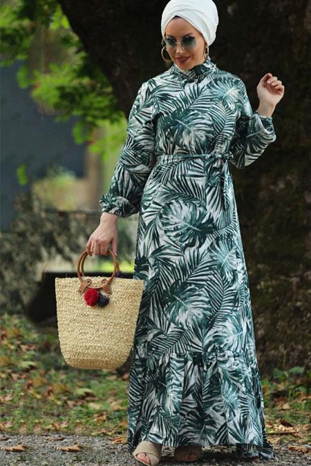 Esra Üstün Yeşil Çiçekli Elbise