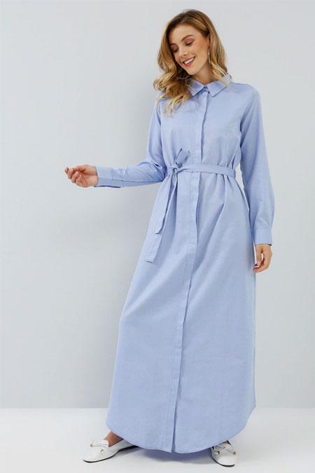 Everyday Basic Mavi Doğal Kumaşlı Gizli Düğmeli Uzun Tunik Elbise