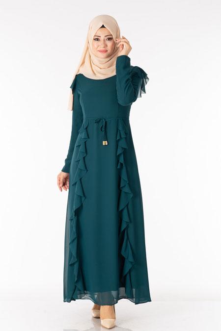 Fırfır Detaylı Şifonlu Tesettür Elbise