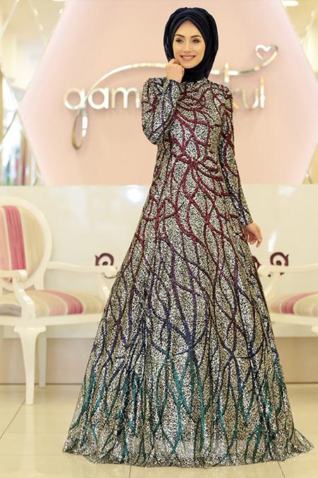 Gamze Özkul Gümüş Colorful Abiye Elbise