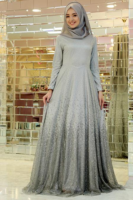 Gamze Özkul Gri Degrade Işıltı Abiye Elbise