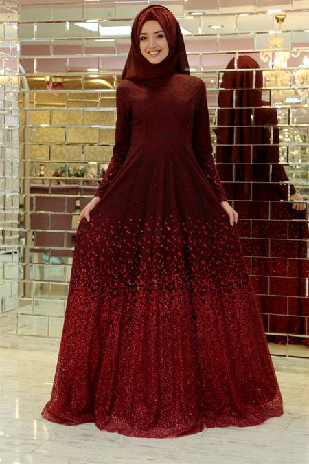 Gamze Özkul Bordo Degrade Işıltı Abiye Elbise