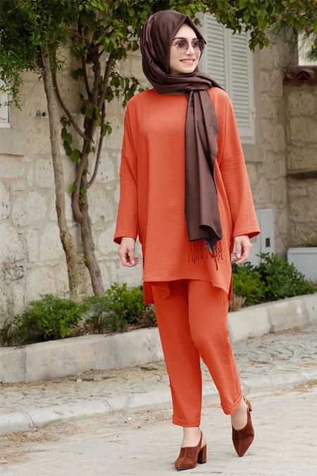 Gamze Özkul Kiremit Liya Tunik & Pantolon İkili Takım