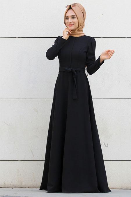Gamze Özkul Siyah Coolvera Düz Elbise