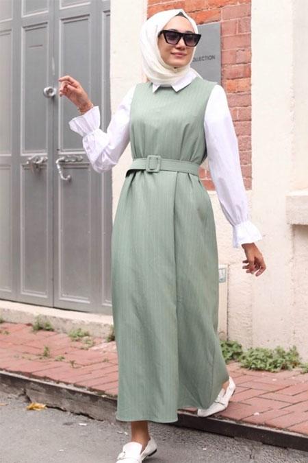 Gizce Yeşil Jile Bluz Kombin