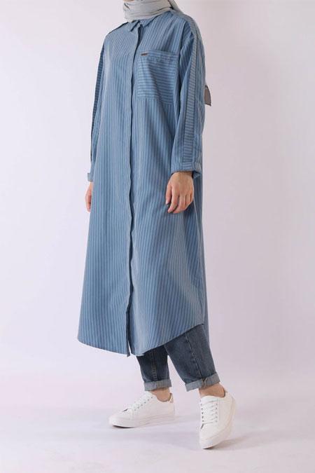 HE-QA Mavi Modal Kalem Tunik