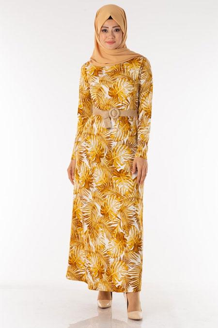 Hardal Palmiye Desen Kemerli Tesettür Elbise