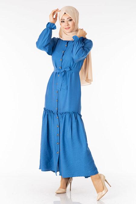 İndigo Fırfırlı Kuşaklı Tesettür Elbise