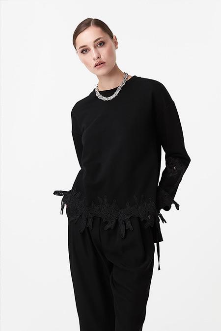 Ipekyol Siyah Güpür Mixli Sweatshirt
