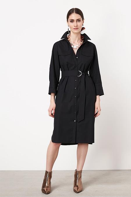 Ipekyol Siyah Kemerli Gömlek Elbise