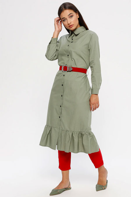 MY CITY Çağla Volanlı Elbise Tunik