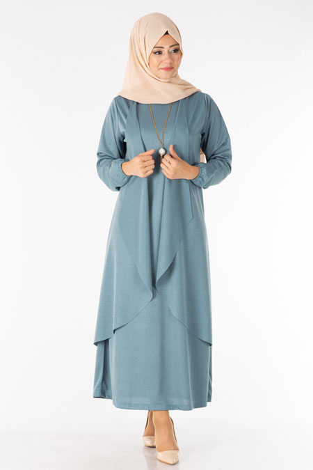 Mint Tesettür İkili Kombin Elbise Hırka