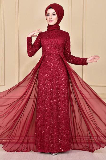 Modamerve Pullu Şifon Detay Abiye Elbise
