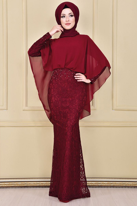 Modamerve Bordo İnci Detaylı Abiye Elbise
