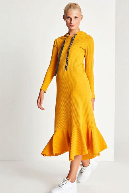Muni Muni Hardal Kapşon Detaylı Elbise