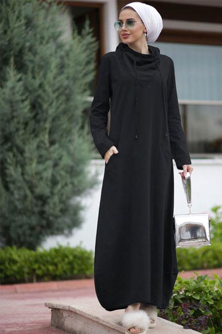 Neways Siyah Tesettür Elbise