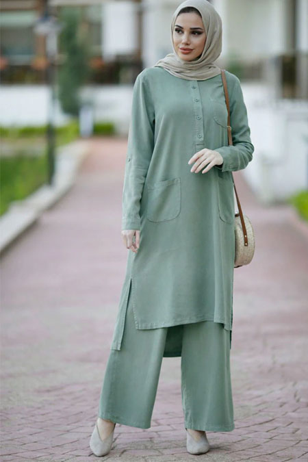 Neways Su Yeşili Tunik & Pantolon İkili Takım