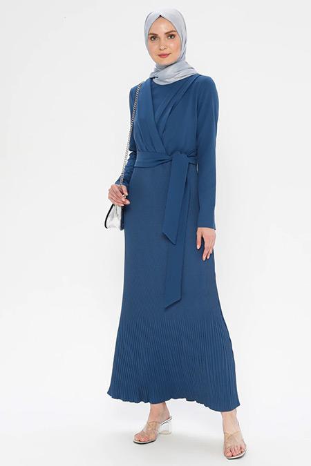Puane İndigo Beli Bağlamalı Elbise