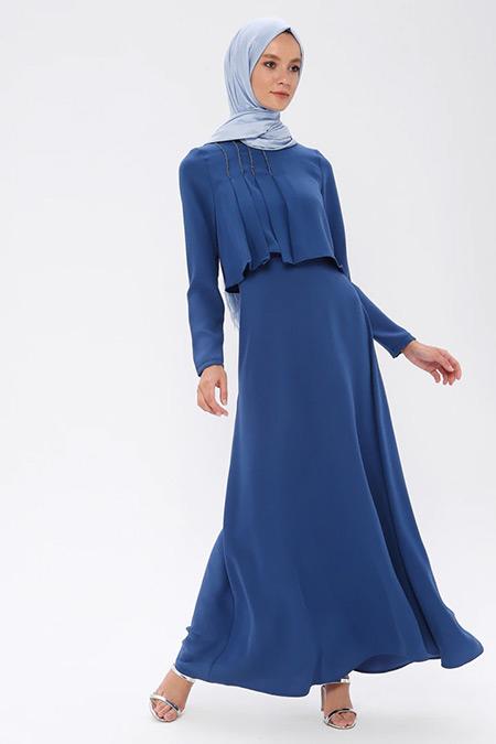 Puane İndigo Pile Detaylı Elbise
