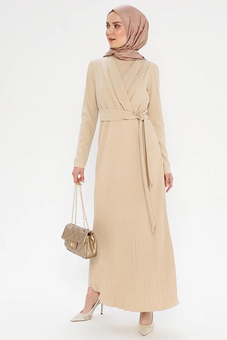 Puane Bej Beli Bağlamalı Elbise