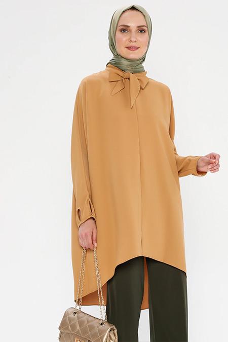 Puane Camel Yakası Bağlamalı Tunik