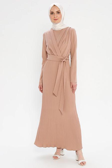 Puane Gül Kurusu Beli Bağlamalı Elbise
