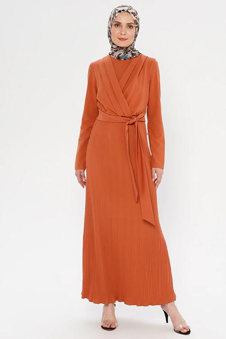Puane Kiremit Beli Bağlamalı Elbise