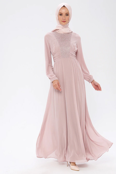Puane Pudra Şifon Elbise