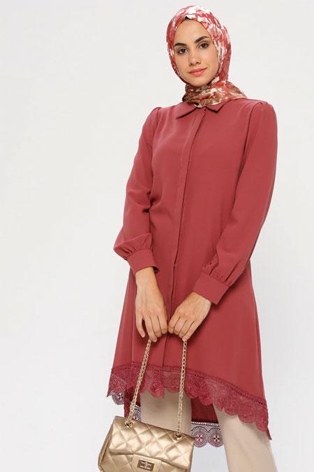 Puane Rose Dantel Detaylı Gömlek Tunik