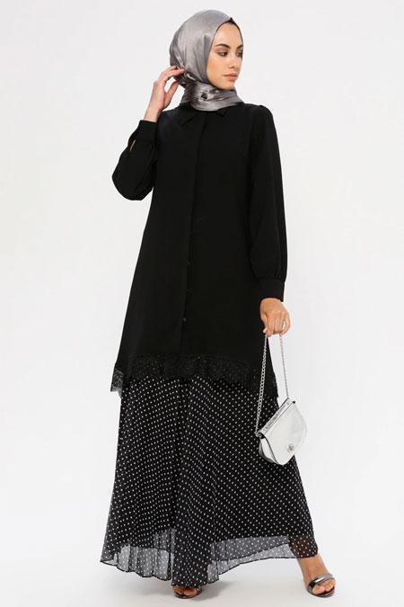Puane Siyah Dantel Detaylı Gömlek Tunik