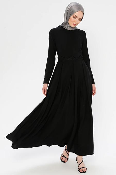 Puane Siyah Pileli Elbise