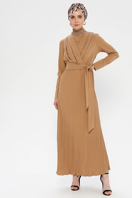 Puane Toprak Beli Bağlamalı Elbise