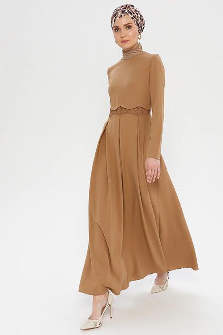 Puane Toprak Pileli Elbise