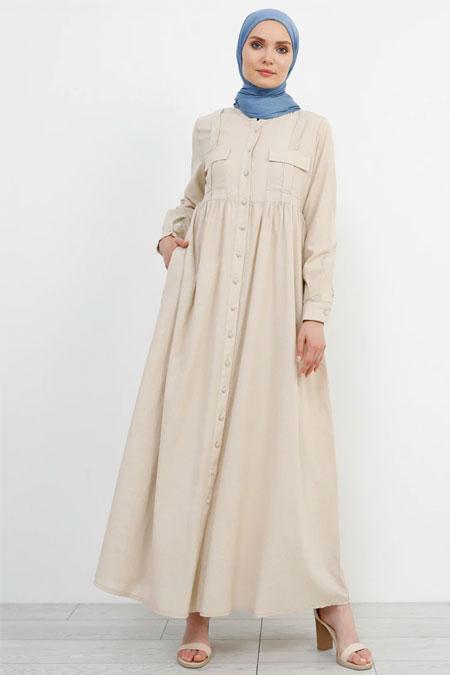 Refka Bej Doğal Kumaşlı Keten Elbise