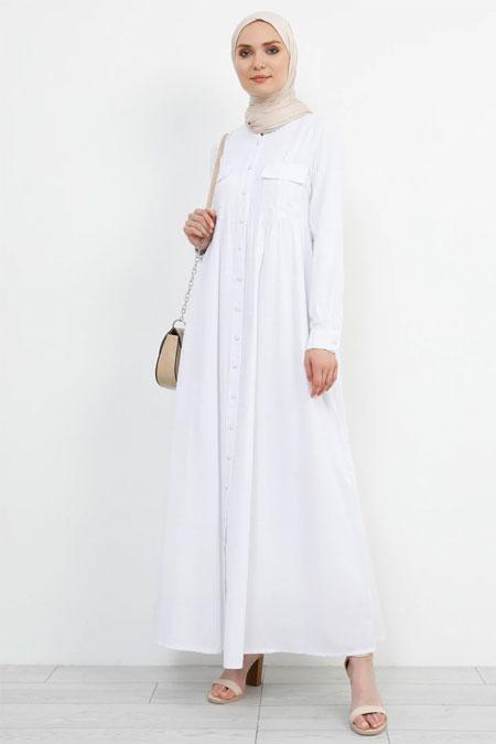 Refka Beyaz Doğal Kumaşlı Keten Elbise