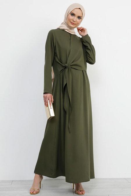 Refka Haki Beli Bağlama Detaylı Elbise